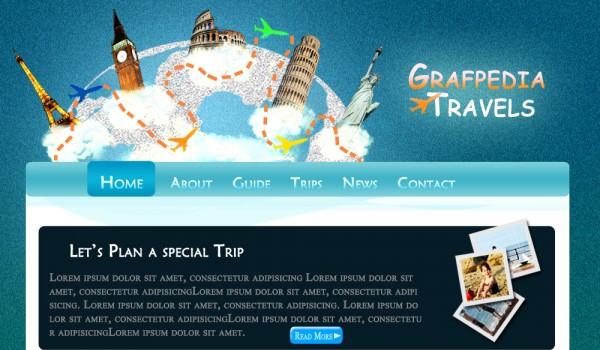 酷旅行社布局 http://grafpedia.com/tutorials/lets-create-cool-travel-agency-layout-csshtml