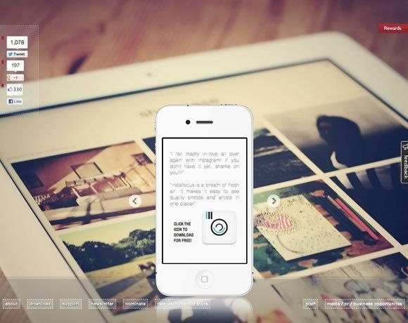 instafocus<br /> Instafocus是一个普遍的iPhone和iPad应用程序,展示了Instagram的最优秀的摄影师。<br /> http://instafoc.us/
