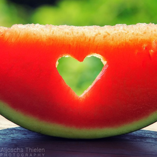 A watermelon is my favorite fruit. That's because it is green from the outside and red as blood from the inside.