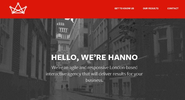 Hanno: a web design agency from UK has flat designed homepage.