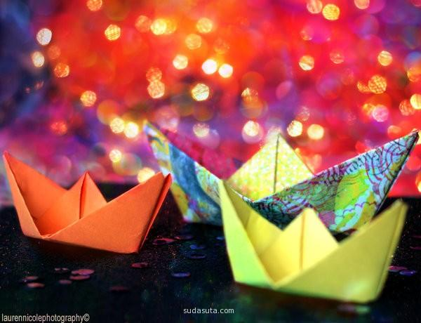 paper boats in summer.
