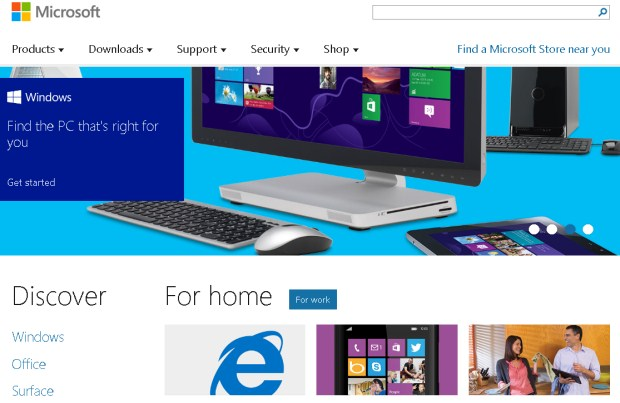 Microsoft Windows Homepage is an example of flat web design.