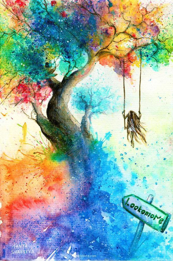 Tanya shatseva 手绘水彩插画 自画像 清新 水彩 手绘