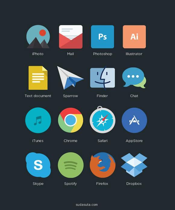 扁平化风格免费图标下载 - 苏打苏塔设计量贩铺 – sudasuta.com – 每日分享创意灵感!