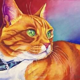 主题插画 手绘水彩猫咪