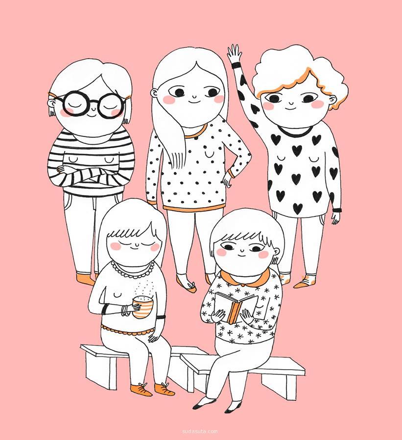 Cristina de Lera 简单美丽的手绘小图 铅笔画 简单 清新 水彩 手绘 干净 儿童插画