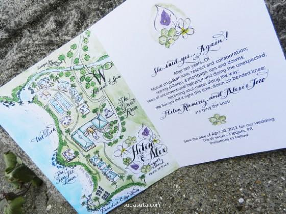 手绘水彩婚礼卡片设计