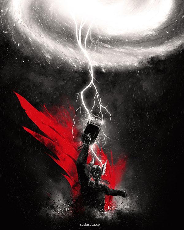 主题插画 超级英雄雷神