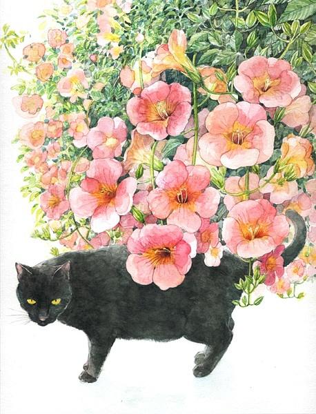 山田绿 猫咪与花朵