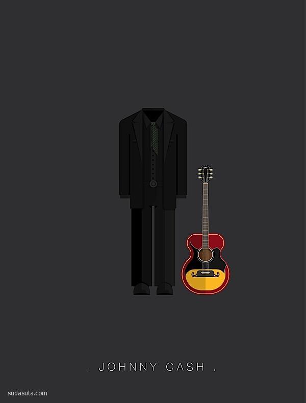 Famous Musicians 色彩鲜艳的矢量插画欣赏
