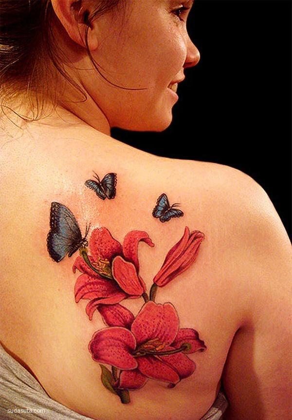 美丽的花朵纹身欣赏