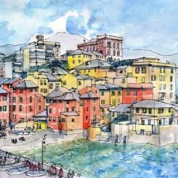 Luca Massone 清新水彩城市插画