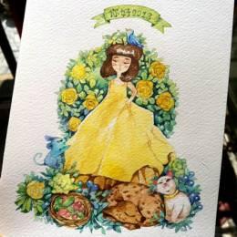 金鱼JINYU 水彩明信片《花与爱丽丝》