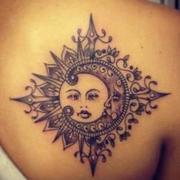 纹身设计欣赏 太阳与月亮