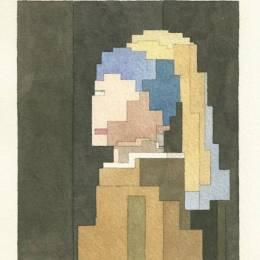 Adam Lister 像素化的水彩绘画