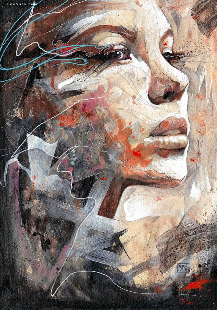 Danny O'Connor 巨幅抽象人像插画欣赏