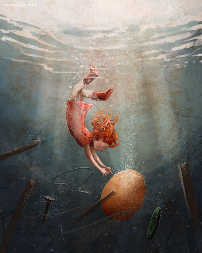 Emilia Dziubak 儿童插画欣赏《The Borrowers Afloat》