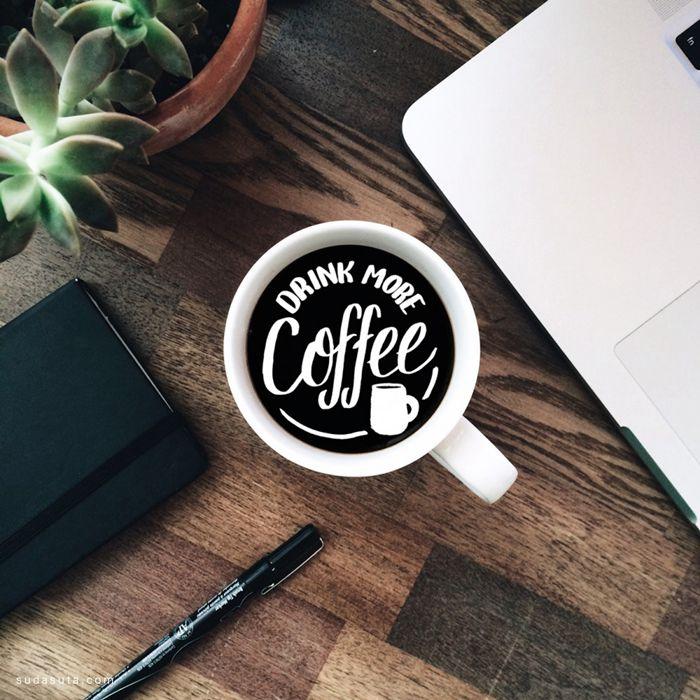 Louis Pena 咖啡中的花体字