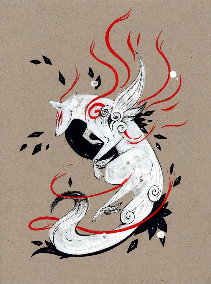 Rubisfirenos 传说中的白狐 中国风手绘插画欣赏 苏打苏塔设计量贩铺 Sudasuta Com