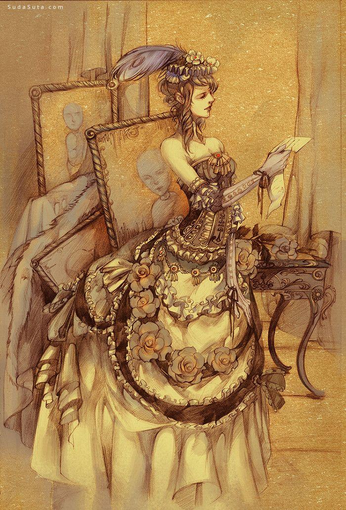 安非 细腻奢华的手绘插画欣赏