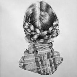 Nettie Wakefield 女生的辫子 黑白手绘艺术欣赏