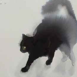 Endre Penovac 毛茸茸的手绘水墨猫咪
