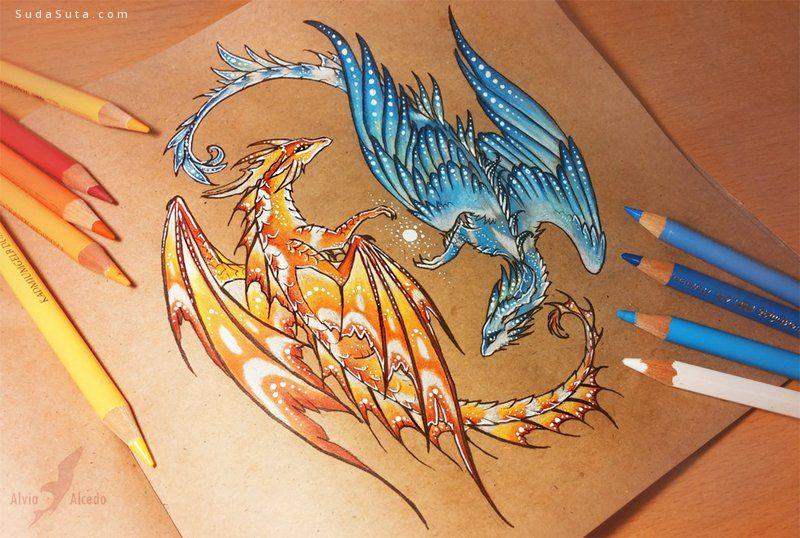 Alvia Alcedo 关于龙的手绘插画