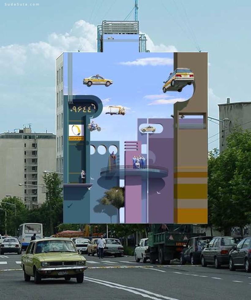 Mehdi Ghadyanloo  超大幅街头绘画欣赏
