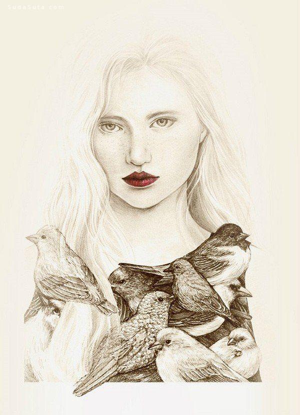 OkArt 少女与鸟 清新手绘插画欣赏
