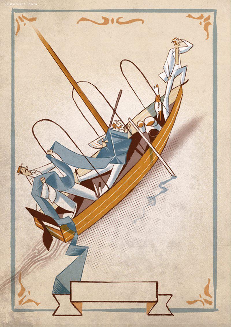 Riccardo Guasco 船上的三个男人