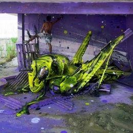 Bordalo II 巨幅昆虫主题城市涂鸦