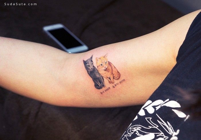 猫咪主题纹身设计欣赏