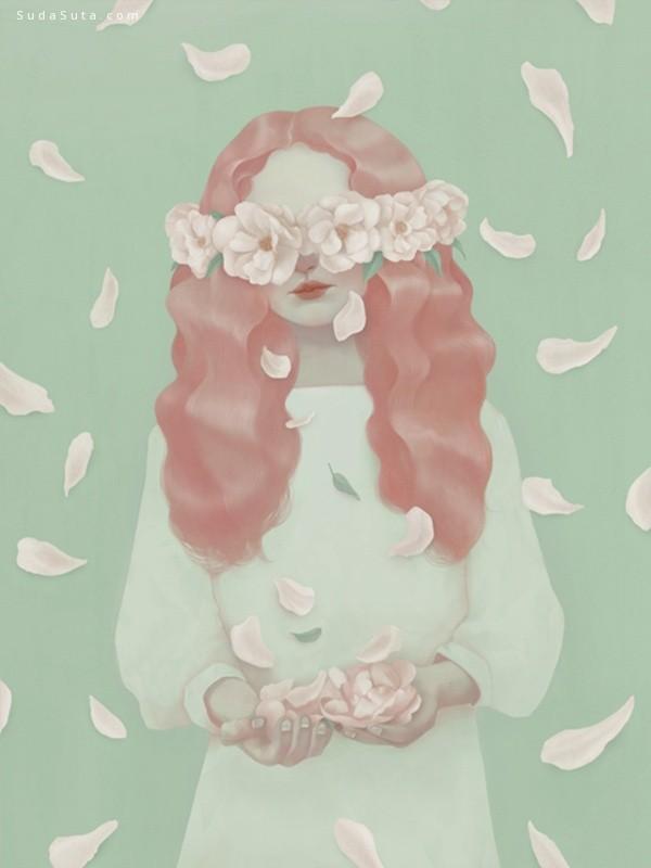 Hsiao-Ron Cheng 花与少女 诡异的人像插画欣赏