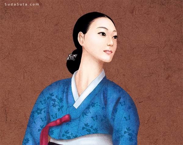 하연 古典韩国人像插画欣赏
