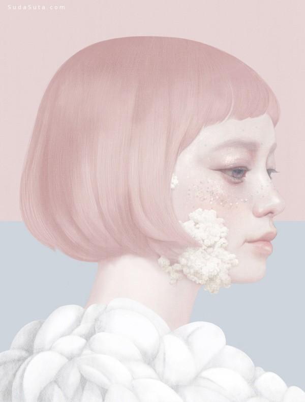 Hsiao-Ron Cheng 花与少女 纤细的少女人像插画欣赏
