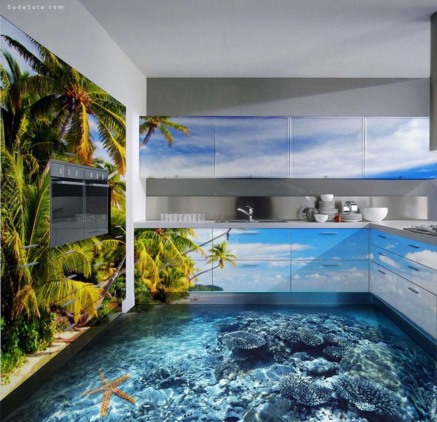 让你的浴室变成海洋 3D立体地面绘画