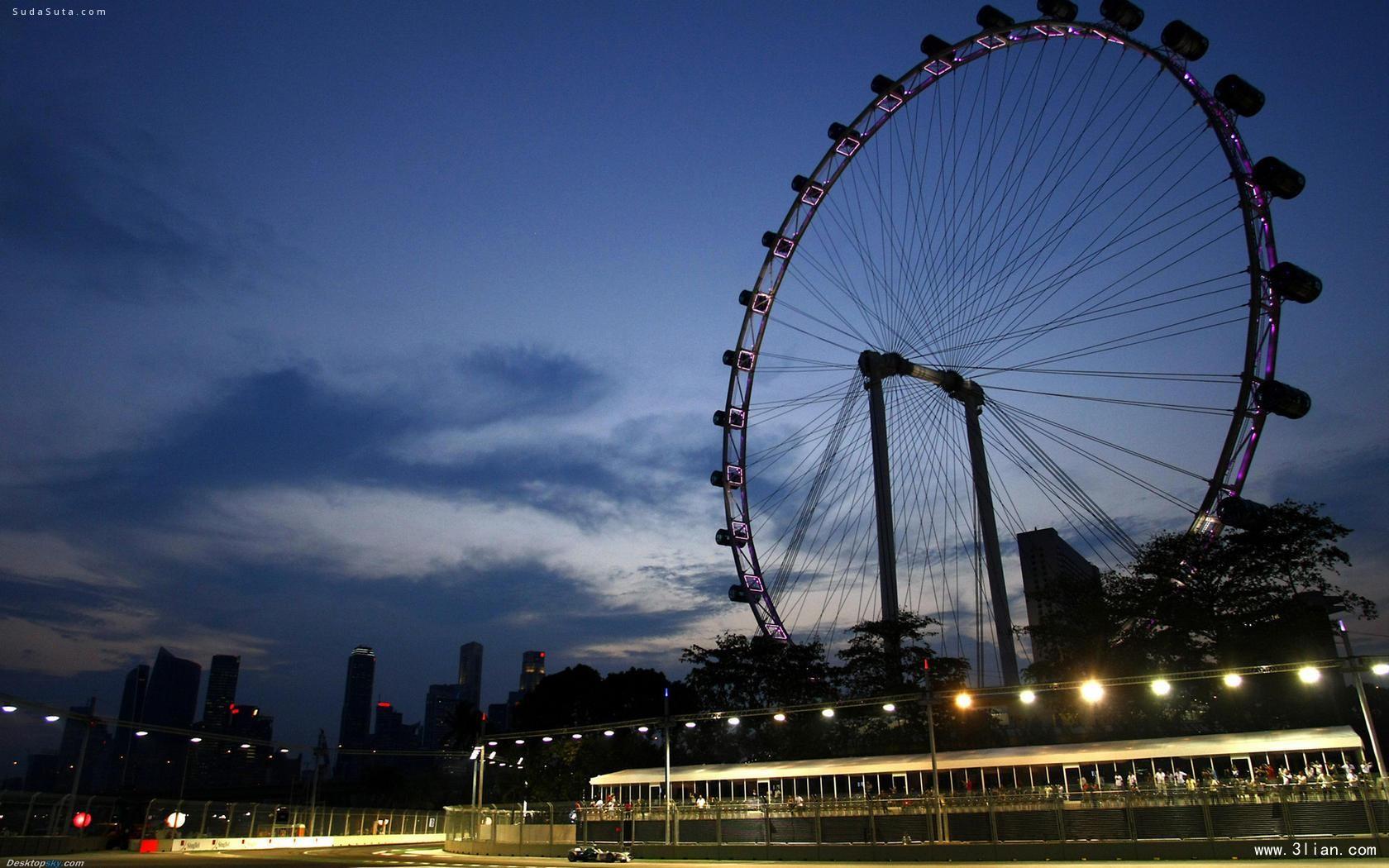 摩天轮滚滚向上 唯美的城市图片素材