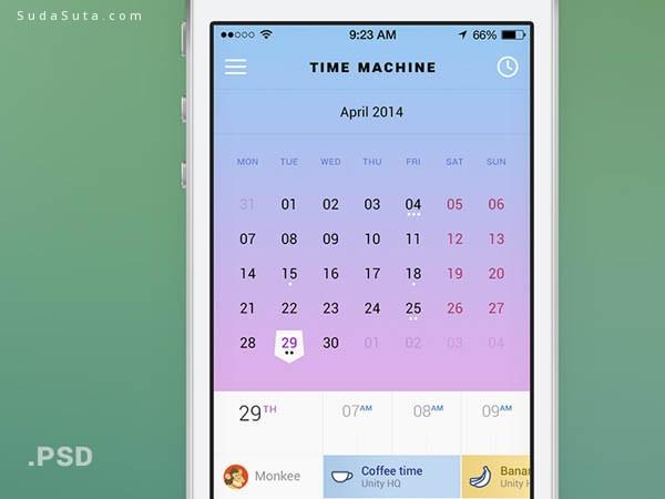 10个免费的日历应用程序的用户界面PSD源文件下载