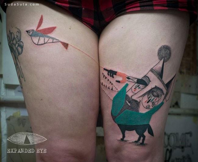 Jade Tomlinson 和 Kev James 几何纹身设计欣赏