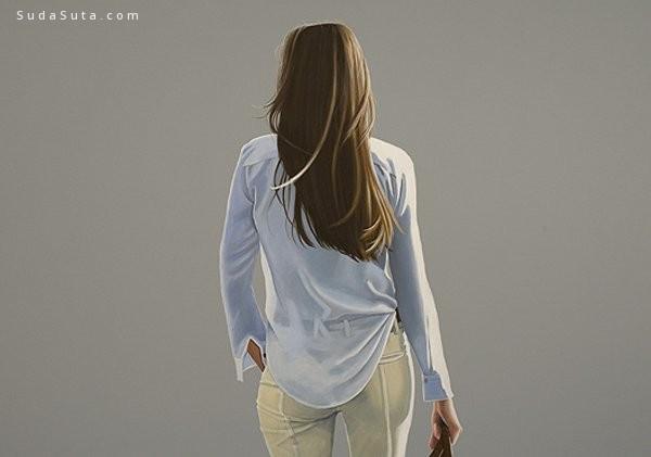 Sabine Liebchen 背影的肖像画