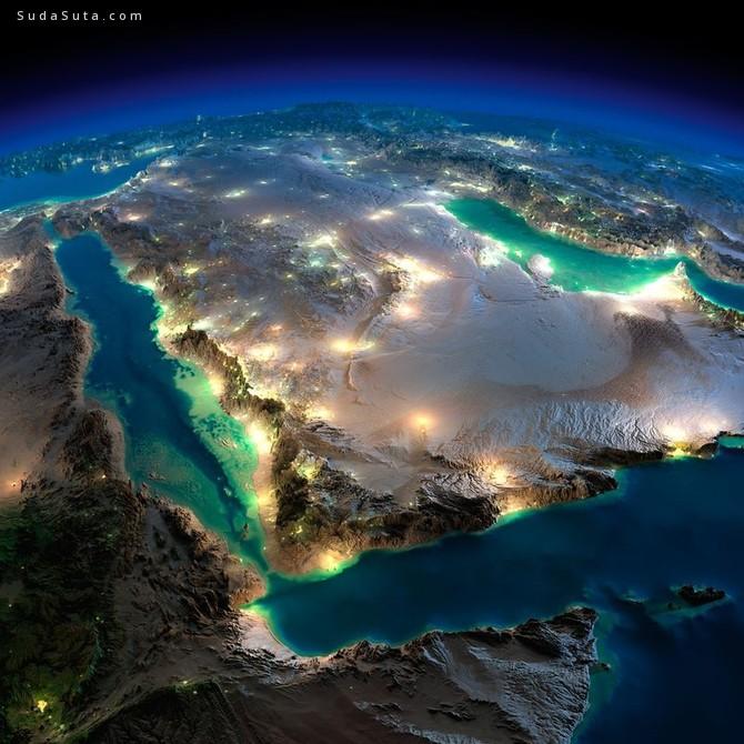 来自太空航拍到的神奇的地球夜景照片