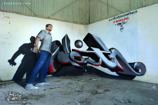 街头艺术家Odeith