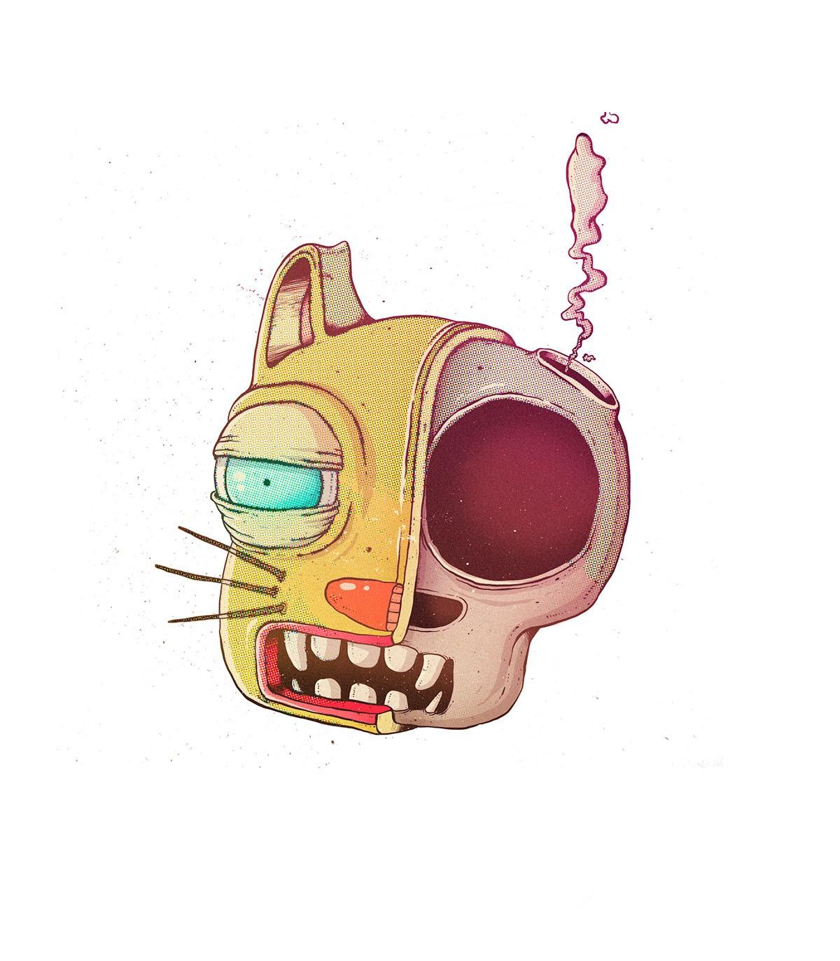 Oscar Llorens 可爱幽默的怪物插画