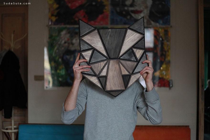 Tomasz Ciurka 可爱的木头制动物装饰头像