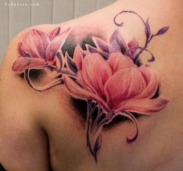 完美玉兰花 创意纹身设计欣赏