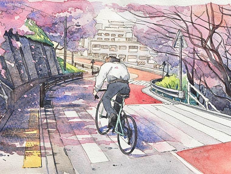 少年与自行车 Mateusz Urbanowicz 水彩插画欣赏