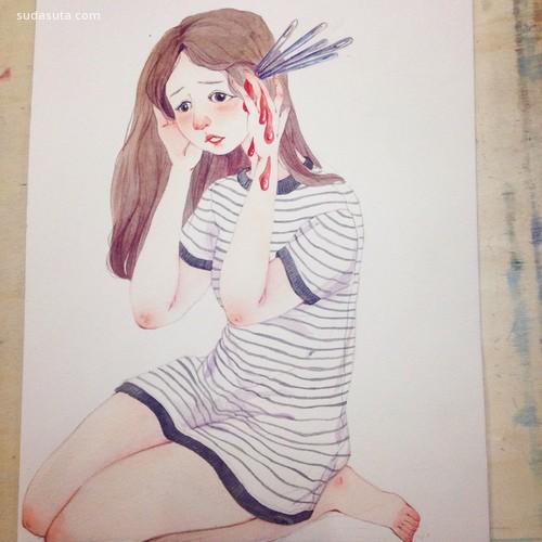 有不为鹿 清新可爱的手绘水彩插画