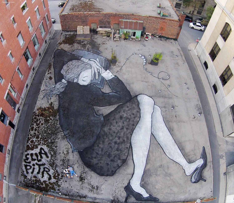 涂鸦艺术家Ella和Pitr 沉睡的城市巨人