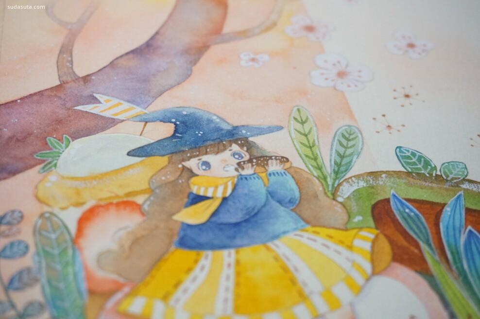 汤圆肉多多 清新可爱的手绘水彩插画