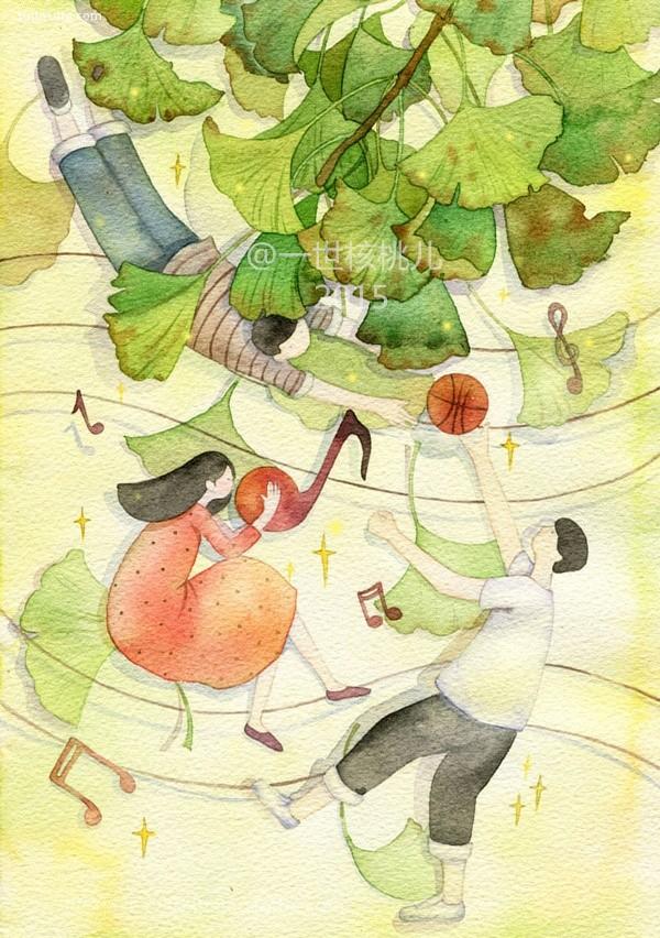 一世核桃儿 清新简约的手绘水彩插画